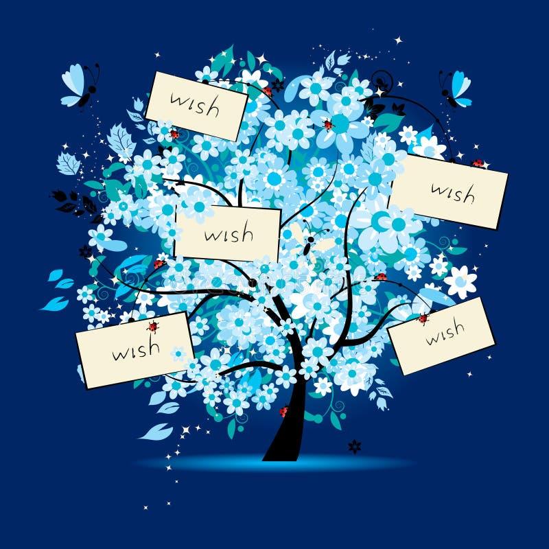 blom- treewish för kort stock illustrationer