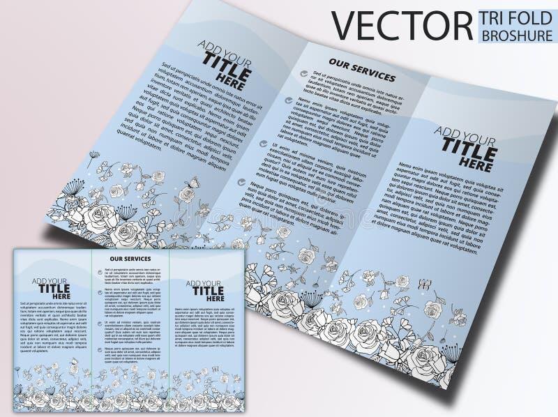 Blom- trifold broschyr, handteckning vektor illustrationer