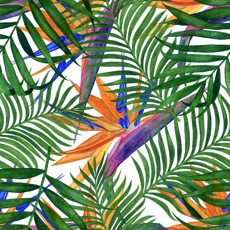 Blom- tropisk sömlös modell för tapet eller tyg Modell med blommor och sidor Handgjord vattenfärgmålning stock illustrationer