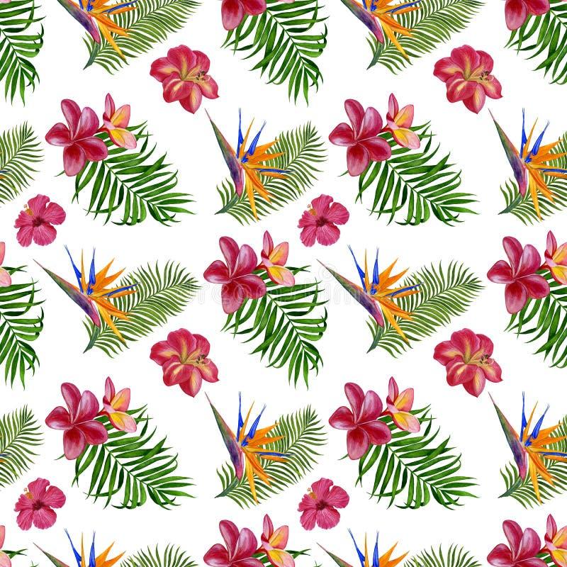 Blom- tropisk sömlös modell för tapet eller tyg Modell med blommor och sidor Handgjord vattenfärgmålning royaltyfri illustrationer