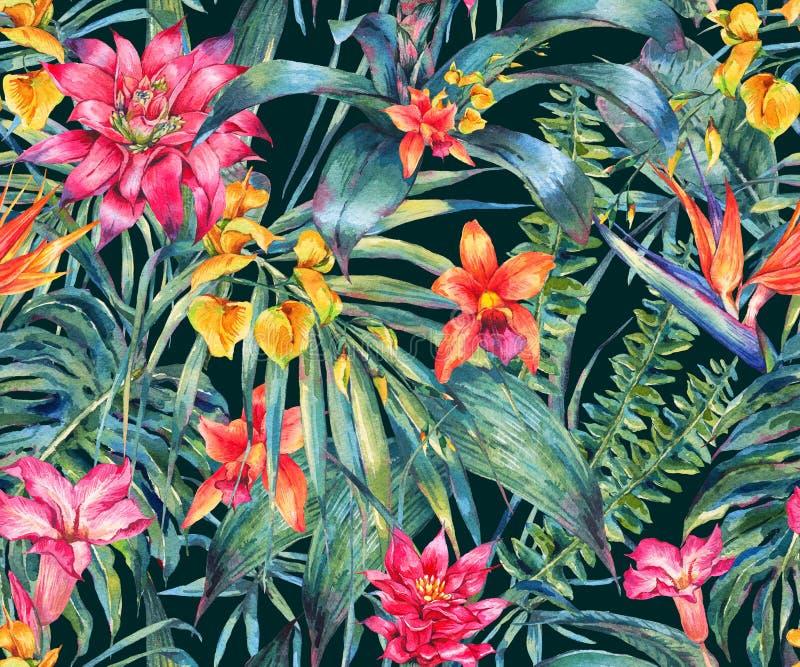 Blom- tropisk sömlös modell för vattenfärg royaltyfri illustrationer
