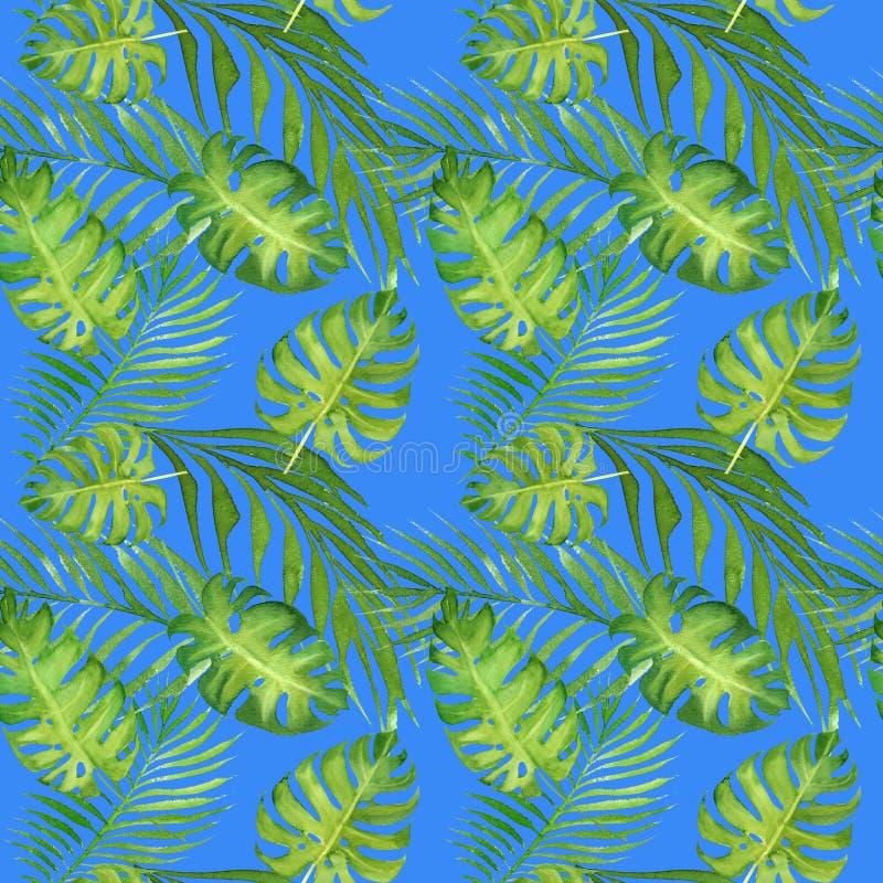 Blom- tropisk sömlös modell för vattenfärg med gröna monsterasidor och palmträdsidor på blått royaltyfri illustrationer