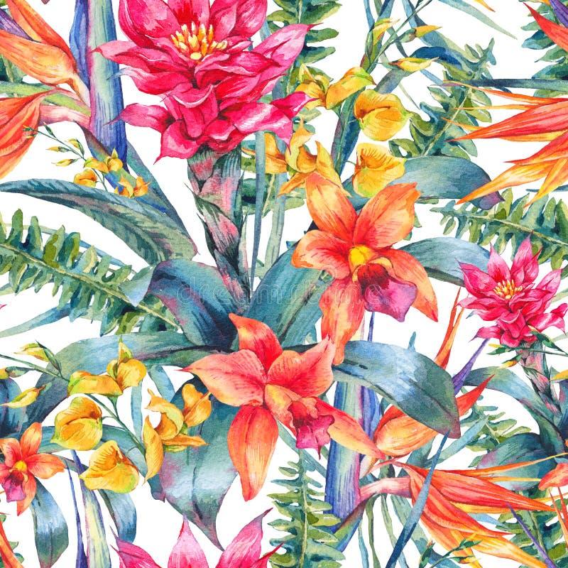 Blom- tropisk sömlös modell för vattenfärgtappning royaltyfri illustrationer