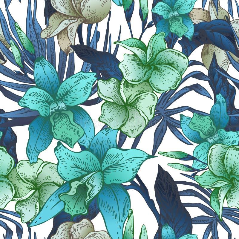 Blom- tropisk sömlös modell för vektortappning vektor illustrationer