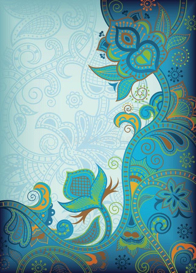 blom- turkos vektor illustrationer