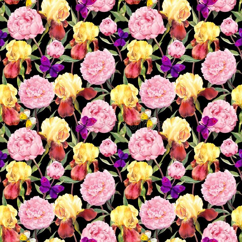 blom- upprepa för modell Pionblommor, iriers och fjärilar Vattenfärg på svart bakgrund royaltyfria foton