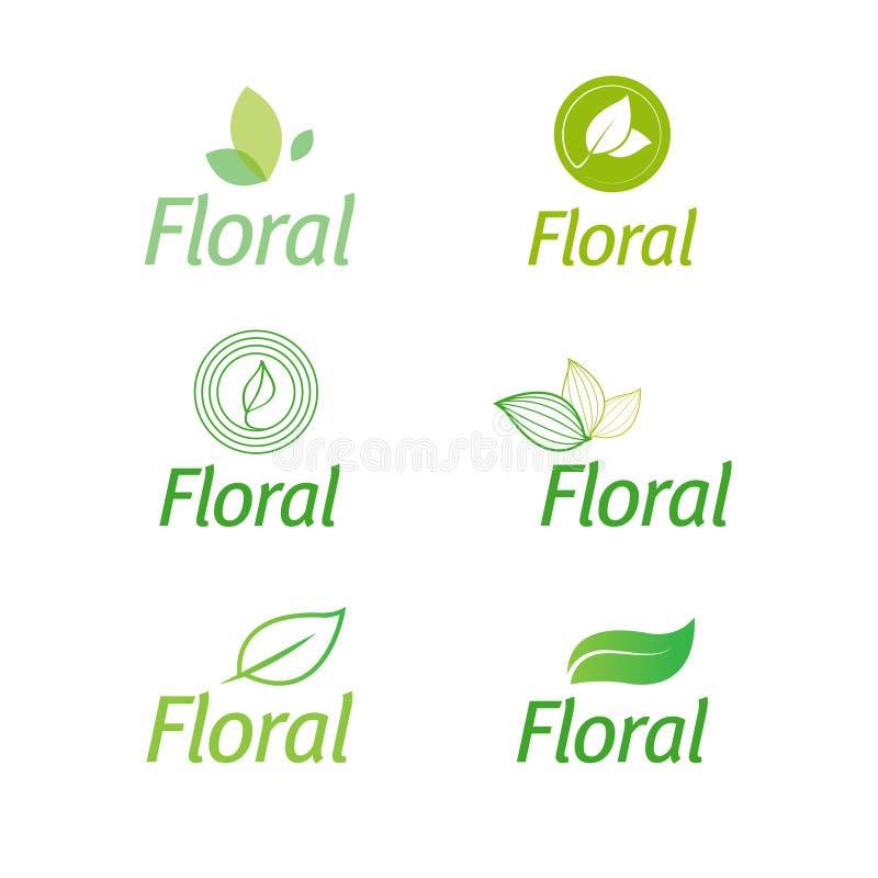 Blom- uppsättning av symboler för bladgräsplaneco royaltyfri illustrationer