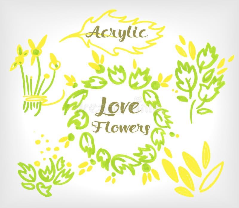 Blom- uppsättning för akryl som komponeras i ett bröllop eller annat feriekort vektor illustrationer