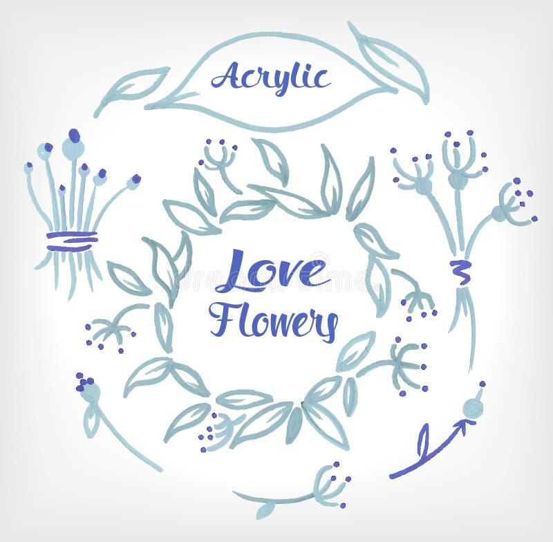 Blom- uppsättning för akryl som komponeras i ett bröllop eller annat feriekort stock illustrationer