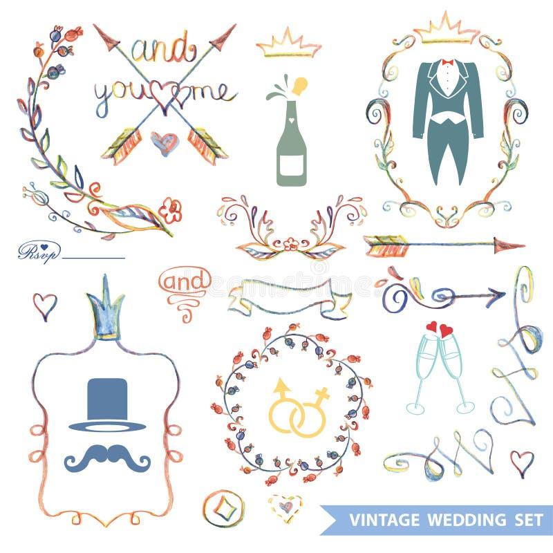 Blom- uppsättning för gullig tappning med klotterdekoren som gifta sig stock illustrationer