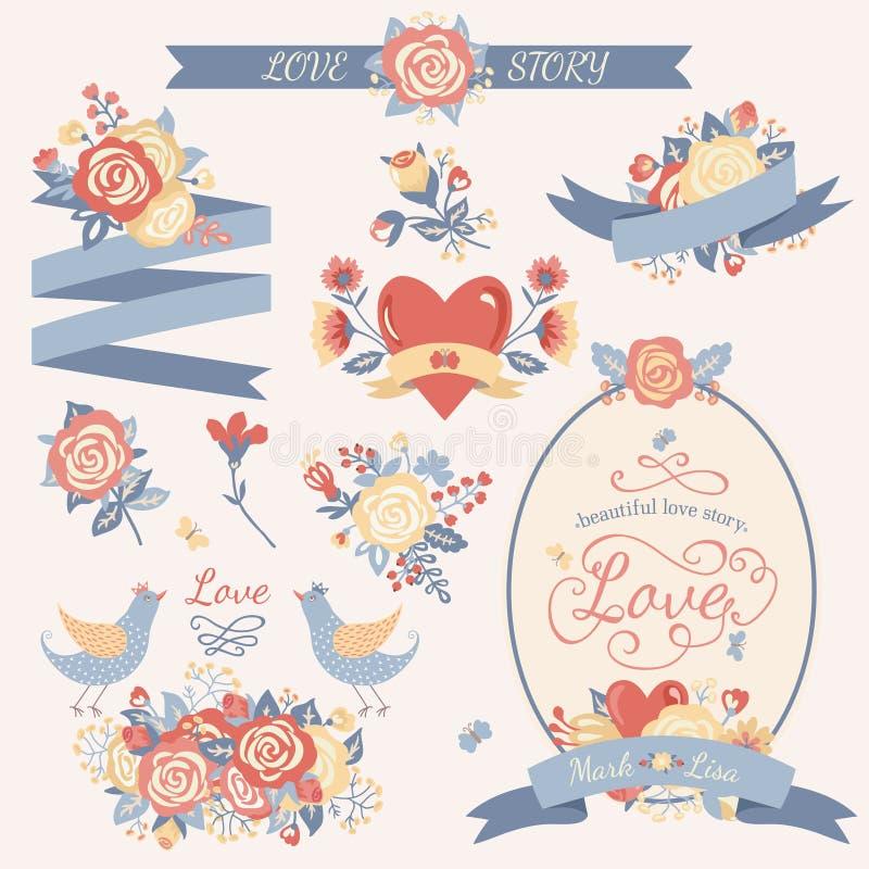 Blom- uppsättning för tappning stock illustrationer