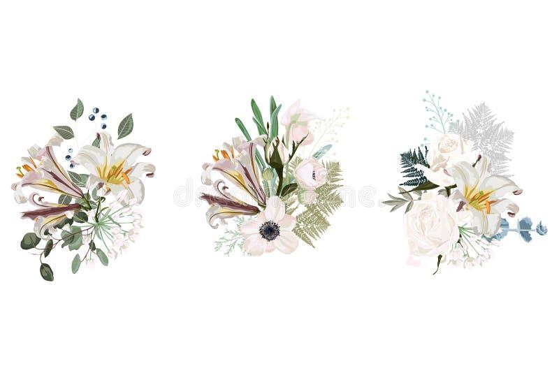 Blom- uppsättning för vårkortsammansättning för grafisk design för affisch med rosor, anemoner, vita liljor stock illustrationer
