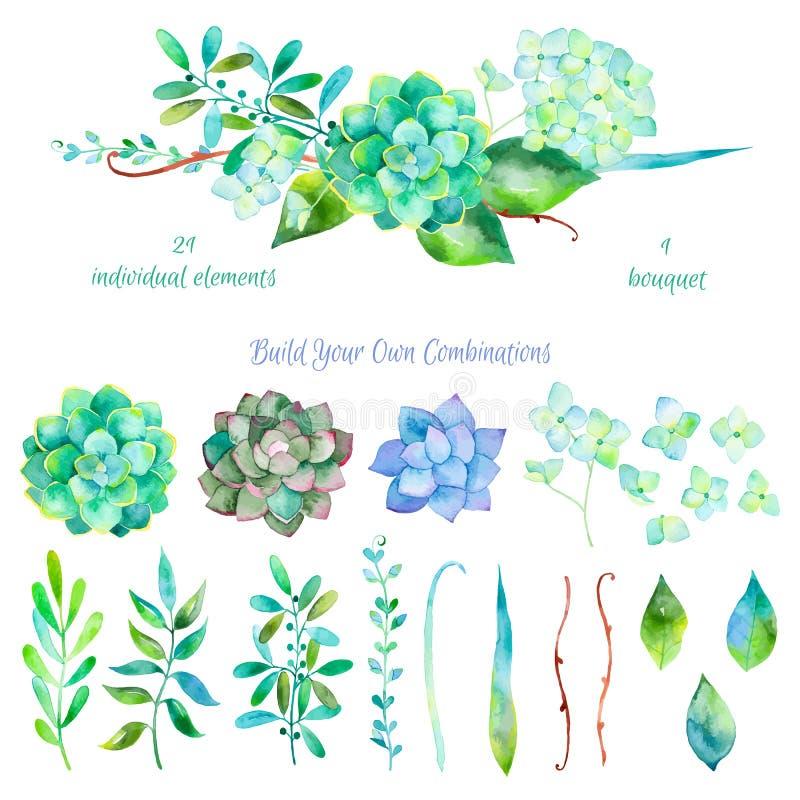 Blom- uppsättning för vektor Färgrik blom- samling med sidor och blommor stock illustrationer