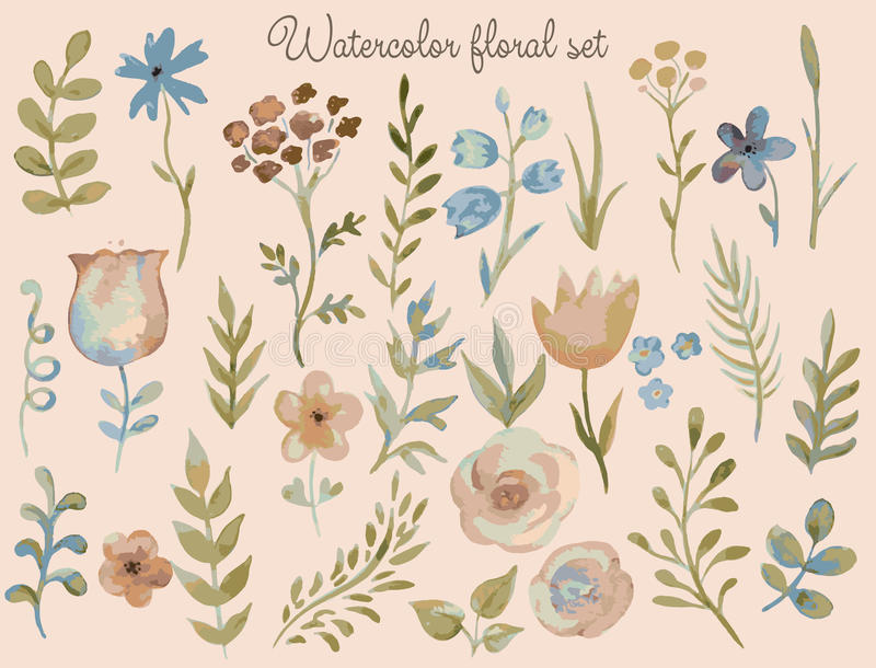 Blom- uppsättning för vektor Färgrik blom- samling med sidor och fl stock illustrationer