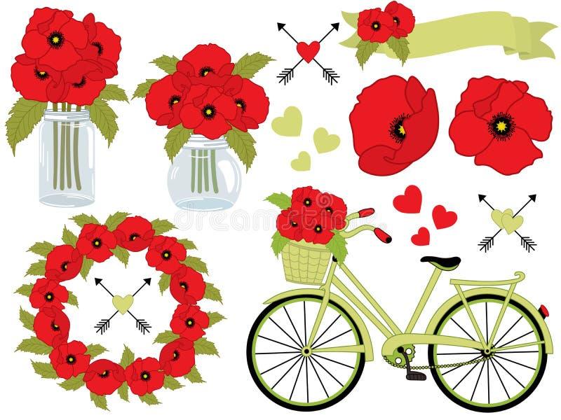 Blom- uppsättning för vektor med vallmo, krans, Mason Jar, cykel med korgen Poppy Vector Illustration royaltyfri illustrationer