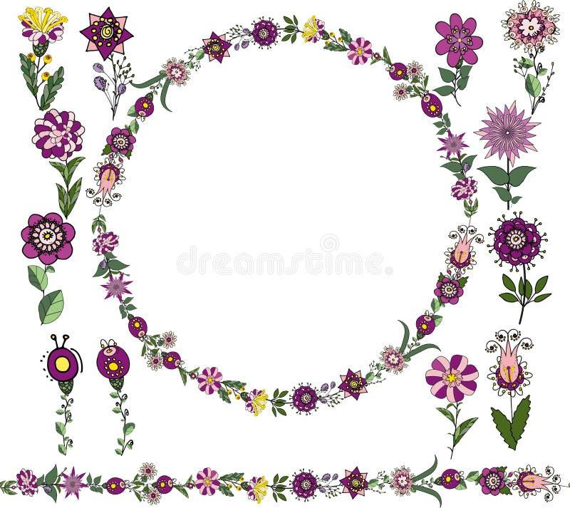 Blom- upps?ttning f?r vektor: S?ml?s borste, rund ram fr?n enkla botaniska best?ndsdelar i etnisk stil, blommor av lila toner och vektor illustrationer