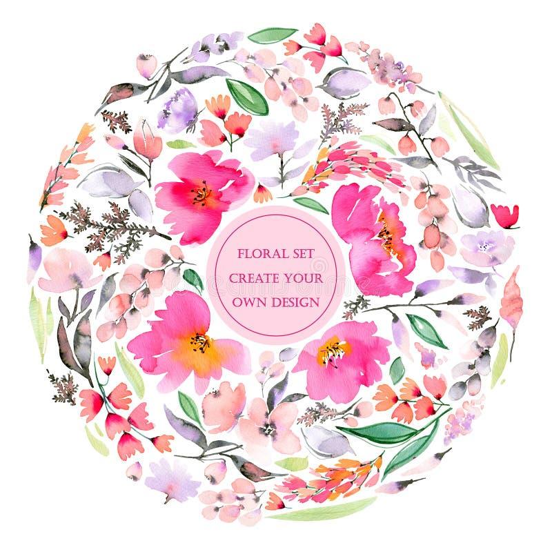 Blom- uppsättning med abstraktrosa färger och violetblommor och sidor stock illustrationer
