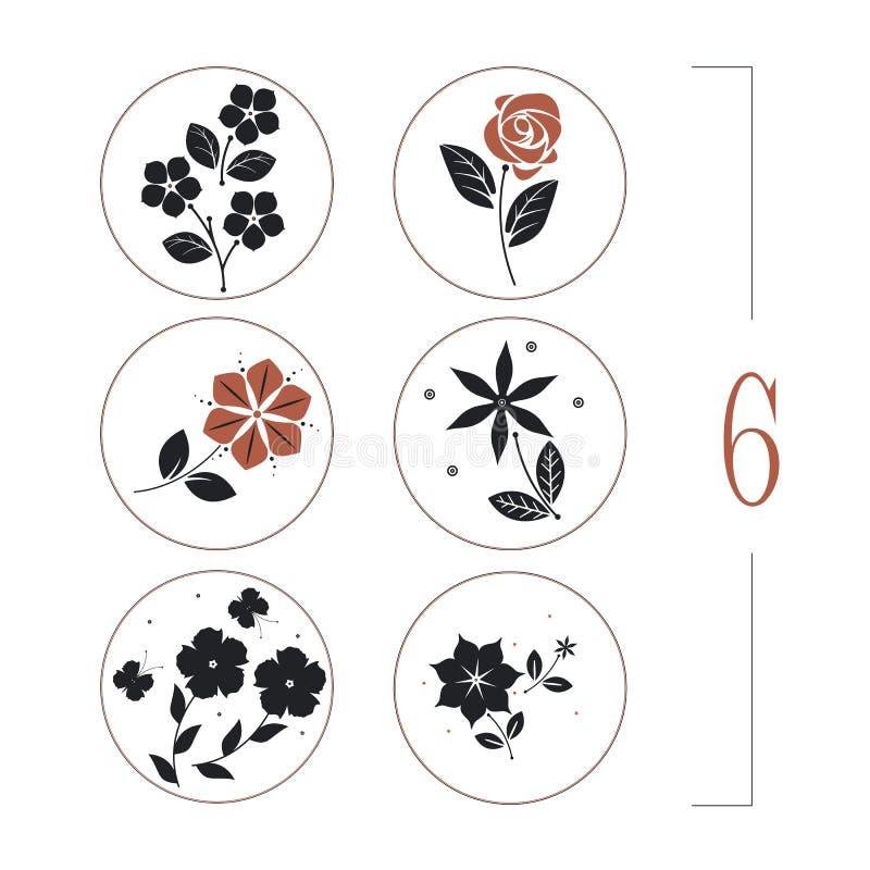 Blom- uppsättning med blomma-, sida- och fjärilskonturer vektor illustrationer