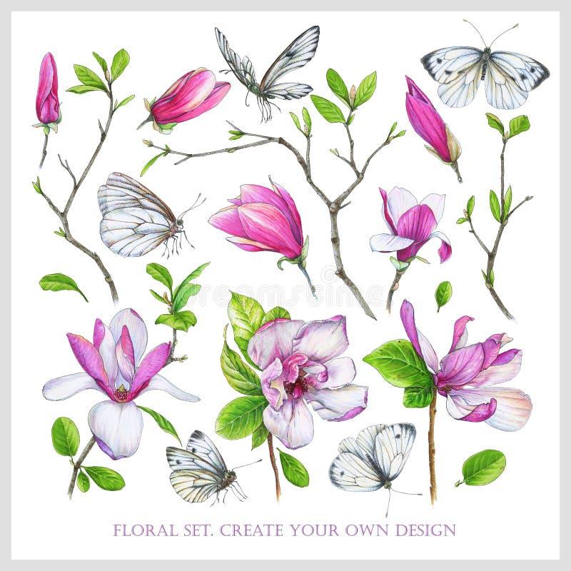 Blom- uppsättning med den rosa magnolian, ris med sidor och vitfjärilar vektor illustrationer