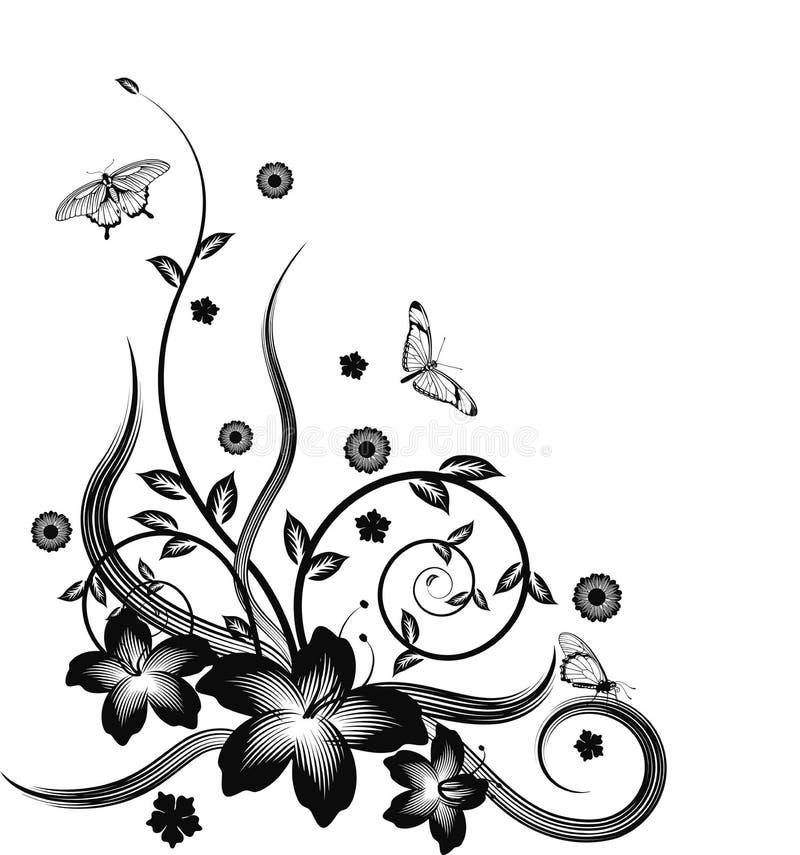 blom- ursnyggt för svart hörndesign stock illustrationer