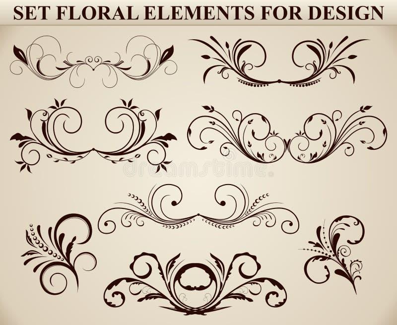 blom- utsmyckad set för element stock illustrationer
