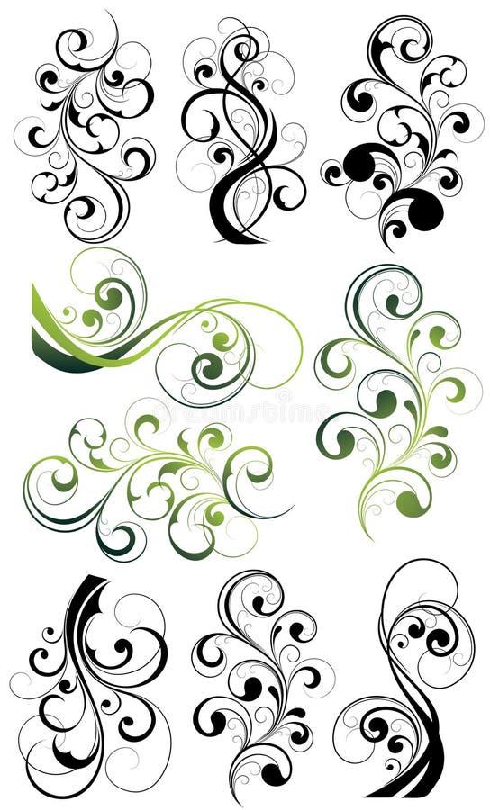 blom- utsmyckad setswirl stock illustrationer
