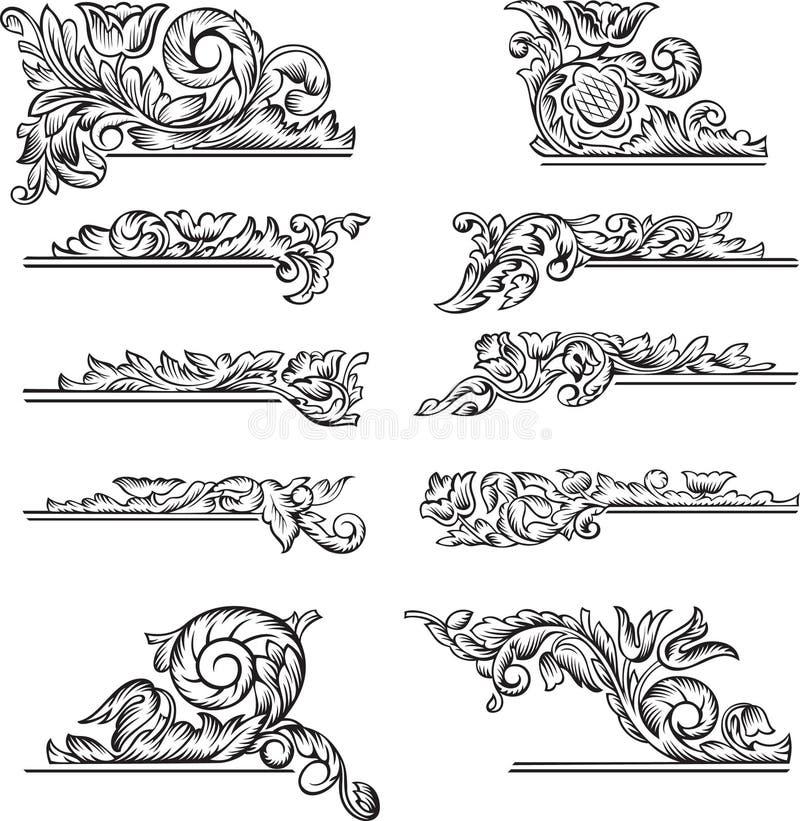 Blom- utsmyckade dekorativa beståndsdelar för tappning royaltyfri illustrationer
