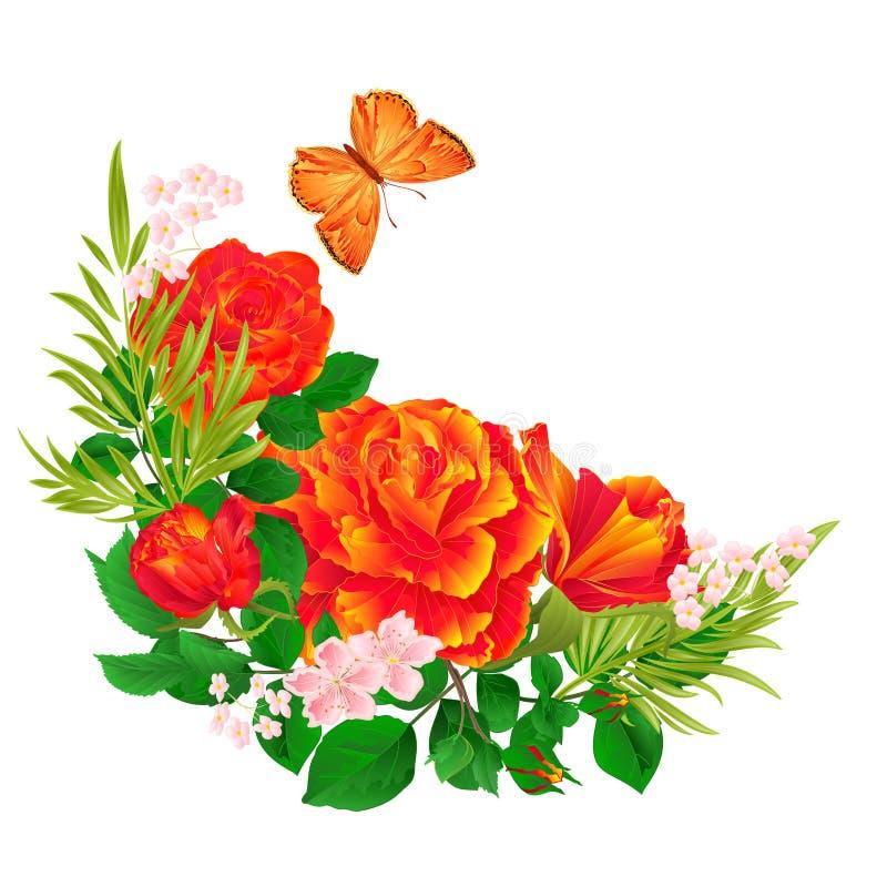Blom- växande ram med orange den redigerbara rosor och illustrationen för vektor för bakgrund för fjärilstappning festliga royaltyfri illustrationer