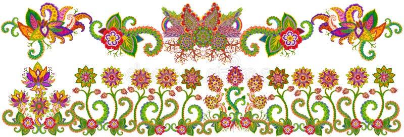 Blom- vårträdgårdgräns vektor illustrationer