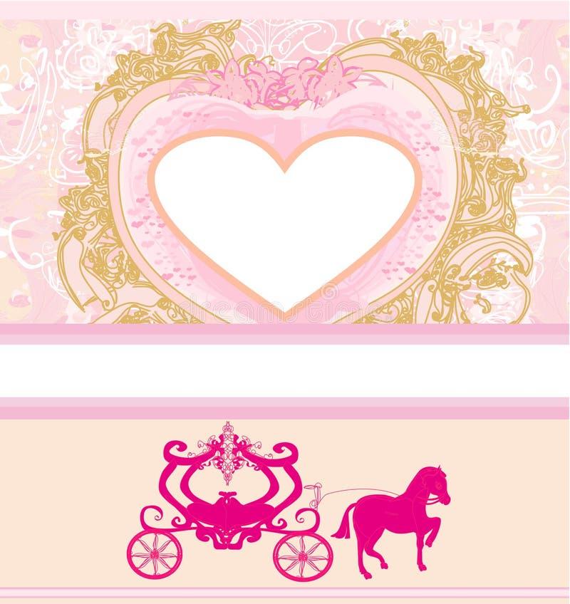 Blom- vagnsinbjudan för tappning royaltyfri illustrationer