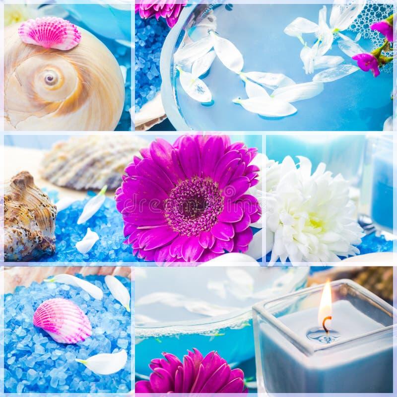 Blom- vatten för Wellnesscollage - salt brunnsortserie för bad royaltyfria bilder