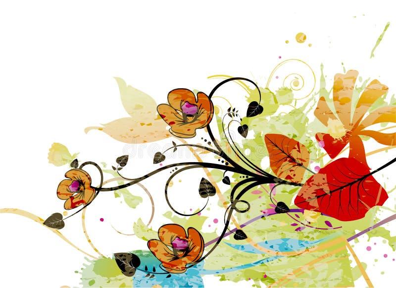 blom- vattenfärg för bakgrund stock illustrationer