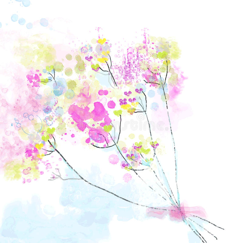 Blom- vattenfärgabstrakt begreppbakgrund för kortet eller inbjudan stock illustrationer