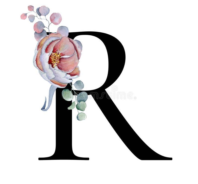 Blom- vattenfärgalfabet Design för initial bokstav R för monogram med den hand drog pion- och anemonblomman och den svarta panter royaltyfri illustrationer