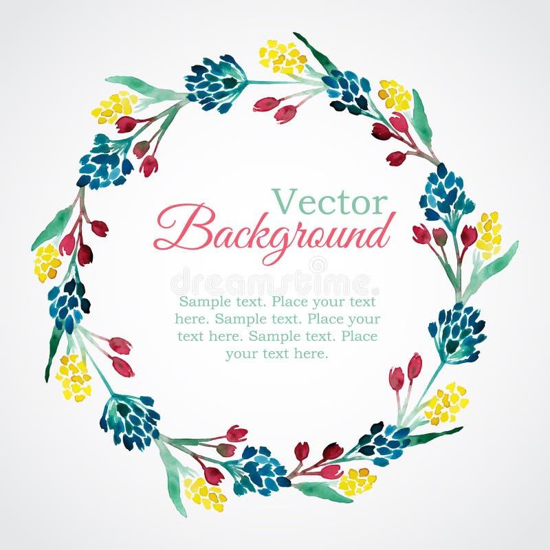 Blom- vattenfärgkrans med blommor vektor illustrationer