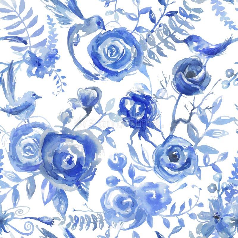 Blom- vattenfärgmodell, textur med blommor och fåglar Seaml stock illustrationer