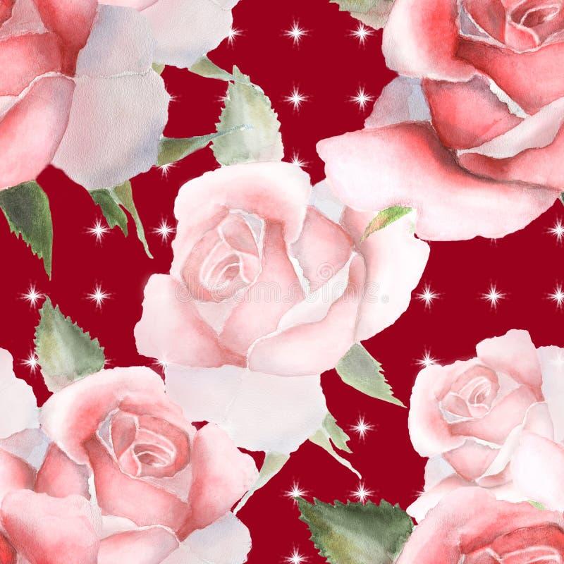 Blom- vattenfärgrosor seamless modell stock illustrationer