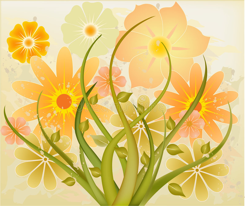 blom- vektor för abstrakt konst royaltyfri illustrationer