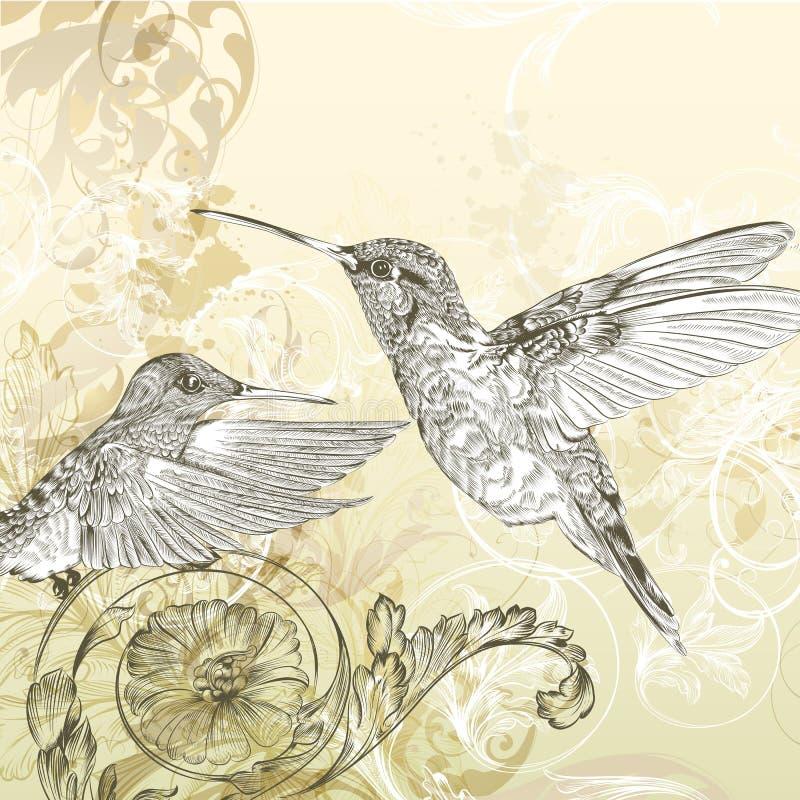 Blom- vektorbakgrund med surrfågeln och virvlar royaltyfri illustrationer