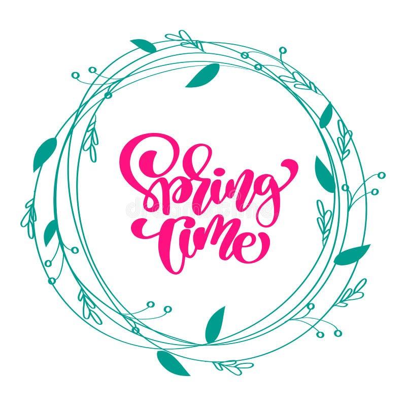 Blom- vektorkransbakgrund med den calligraphic märka textvåren Tid Isolerad plan illustration för blomma på vit royaltyfri illustrationer