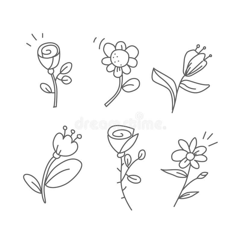 Blom- vektoruppsättning Samling av klotterblommor Utdragna isolerade beståndsdelar för hand på vit royaltyfri illustrationer