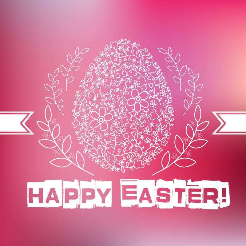 Blom- vitt påskägg på rosa bakgrund stock illustrationer