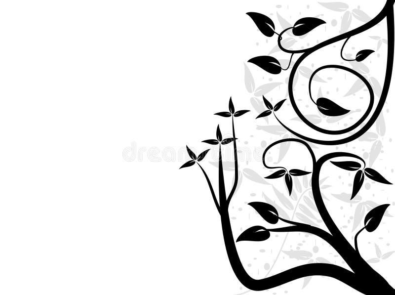 blom- white för svart design royaltyfri illustrationer