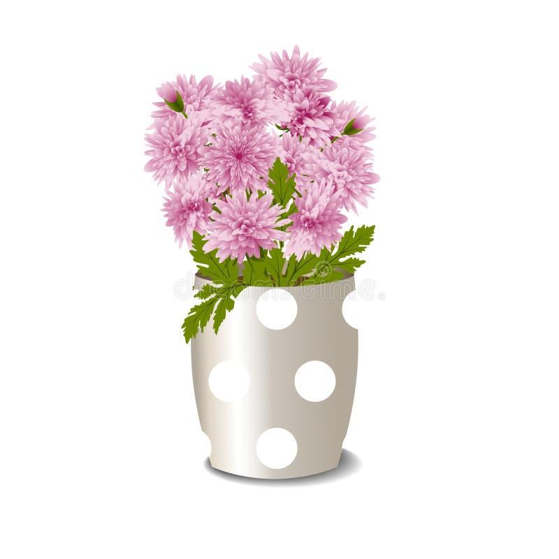 Blomkruka med rosa krysantemum royaltyfri illustrationer