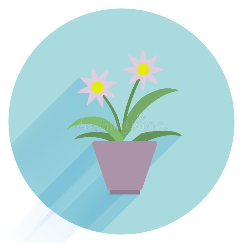 blomkruka på bakgrunden Houseplantsymbol Modern illustration för plan designstil Isolerat på stilfull färgbakgrund lång skugga royaltyfri illustrationer
