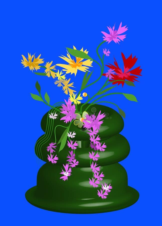 blomkrukablommor stock illustrationer
