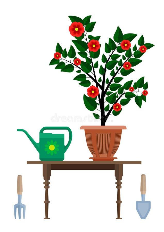 Blomkrukan i krukan som bevattnar kan och instrumentet för att arbeta i trädgården vektor illustrationer