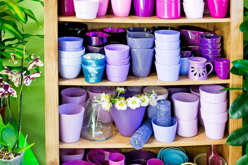 Blomkrukor i en hylla i en marknad royaltyfria foton