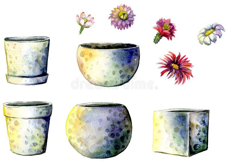 Blomkrukor som målas med vattenfärger på vit bakgrund En uppsättning av olika keramiska blomkrukor och kaktusblommor royaltyfria bilder