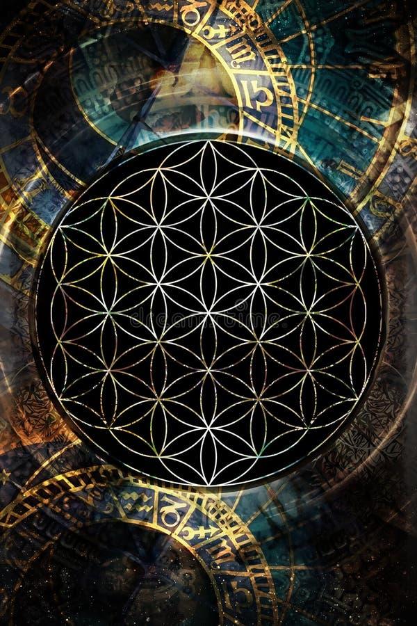 Blomma av liv och zodiak i kosmiskt utrymme sakral geometri royaltyfri illustrationer